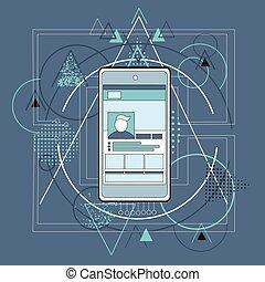 intelligent, téléphone portable, téléphone, résumé, triangulaire