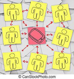 intelligent, téléphone, réseau, connexions, -, notes collantes