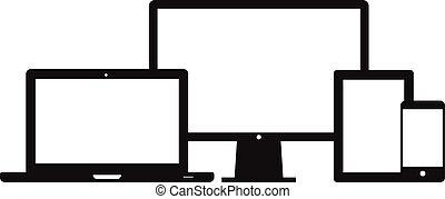 intelligent, téléphone, tablette, ordinateur portable, bureau