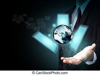 intelligent, téléphone, touchscreen