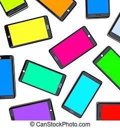 intelligent, téléphones, -, étalage, de, coloré, écrans
