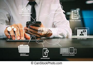 intelligent, tablette, numérique, fonctionnement, lawer, ...