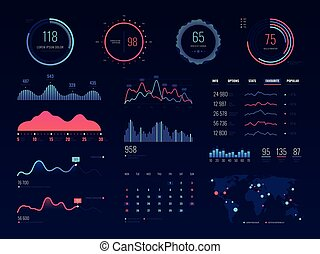 Intelligent technology hud vector interface. Network...