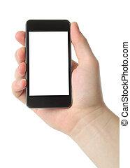 intelligent, tenant téléphone, homme, main
