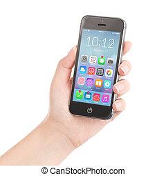 intelligent, tenue, coloré, femelle noire, téléphone, application, main