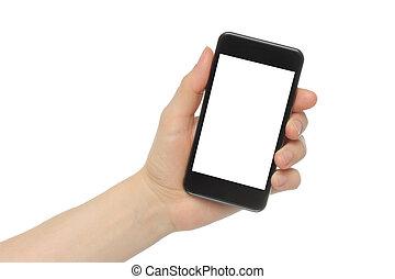 intelligent, tenue, fond, isolé, téléphone, main, blanc
