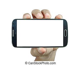 intelligent, tenue, fond, téléphone, main, blanc