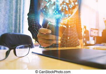 intelligent, toucher, réseau, social, concept., connected., mondiale, écran, téléphone., main