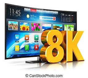 intelligent, tv, courbé, ultra, 8k, hd