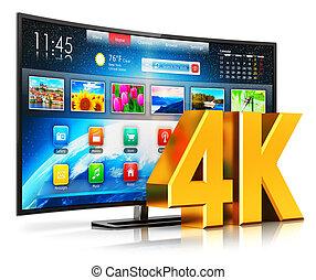 intelligent, tv, courbé, ultra, hd, 4k