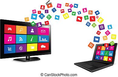 intelligent, tv, et, ordinateur portable, à, apps