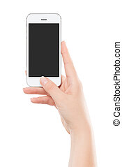 intelligent, urgent, tenue, moderne, thumb., isolé, téléphone, femme, écran, arrière-plan., vide, main, bouton, blanc