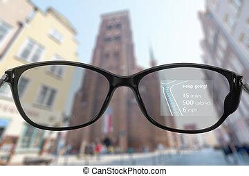 intelligent, ville, courant, lunettes