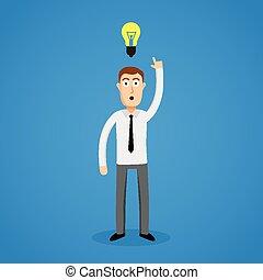 intelligente, bulb., idea, uomo affari