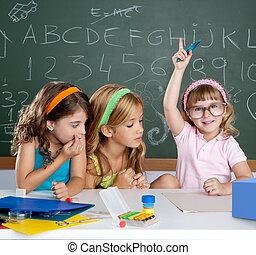 intelligente, noioso, mano, studente, ragazza, bambini, innalzamento