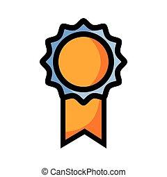 intelligente, scuola, medaglia, simbolo, studente