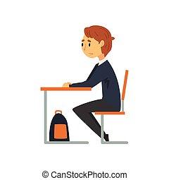 intelligente, scuola, studiare, seduta, illustrazione, uniforme, vettore, studente università, scrivania, vista, aula, lato, scolaro