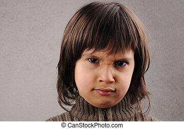 intelligente, vecchio, serie, anni, facciale, 6-7, scolaro, espressioni, capretto
