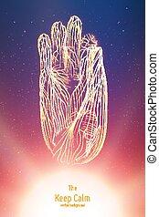 intelligentie, illustratie, concept, calmness., mystiek, hand., digitale , cyber, kunstmatig, staat, mind., boeddha, enlighted, meditaion, zin, beroeren, hand, vector, vinger