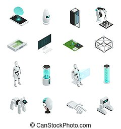 intelligentie, isometric, set, kunstmatig, pictogram