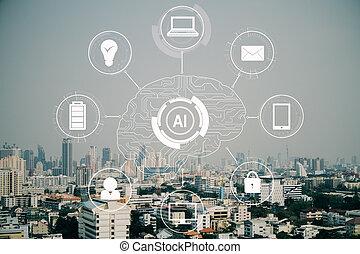 intelligentie, toekomst, concept, kunstmatig