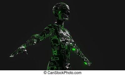 intelligenz, frau, begriff, cyber, künstlich, -