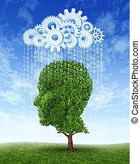 intelligenz, wachstum, wolke, rechnen