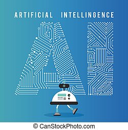 intelligenza, concept., robot, artificia
