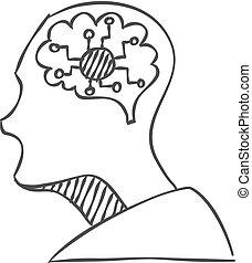 intelligenza, elettronico, schizzo, icona, concetto, testa, vettore, umano, illustration., style., artificiale, brain.