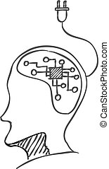 intelligenza, elettronico, schizzo, icona, drawing., testa, vettore, umano, illustration., concetto, artificiale, brain.