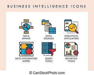 intelligenza, icone affari