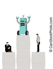 intelligenza, robot, market., futuro, lavoro, work., vincere, lavorante, presa, artificiale, sopra, depicts, ufficio, la maggior parte