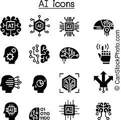 intelligenza, set, artificiale, icona, ia
