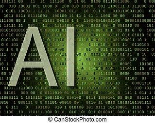 intelligenza, sopra, artificiale, fondo, binario