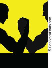 Illustration of two people having hand wrestling match