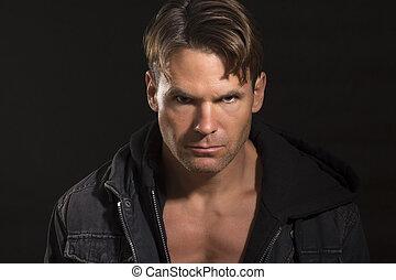 Intense predator eyes - Portrait of handsome sexy Caucasian...