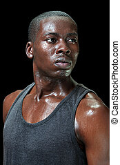 Intense sweaty athlete - Portrait of attractive young fit ...