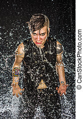 Intense Woman with Clawed Hands in Water Splash