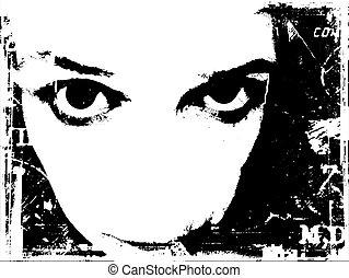 Intensity - Grunge style background of female staring...