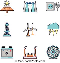 Intensity icons set, cartoon style