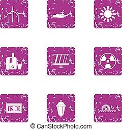 Intensity icons set, grunge style