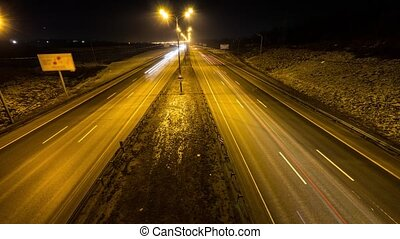 intensive traffic at night, two way roadm timelapse