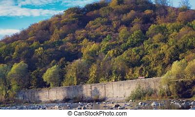 Intensive traffic in autumn Carpathians - Intensive traffic...