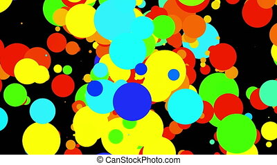 Intensively gushing colorful round particles