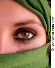 intenso, ojos verdes, de, árabe, niña