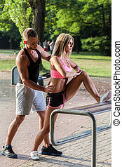 Intent couple during working out