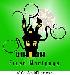 interés, hipoteca, casa, -, ilustración, no, puerta, ...