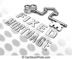 interés, llave, hipoteca, -, ilustración, no, tasa, ...
