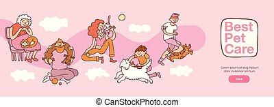 interação, animais estimação, ilustração, pessoas