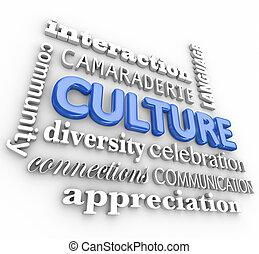 interação, diversidade, língua, colagem, comunicação, comunidade, cultura, palavra, 3d